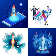 Isometric four concepts of Businnes Start Up for web page, banner, presentation, social media. Income and Success. Vector Business Infographics illustration