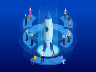 Isometric Businnes Start Up for web page, banner, presentation, social media concept. Income and Success. Vector Business Infographics illustration