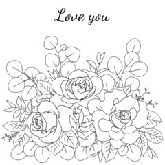 Coloring page with bouquet of roses and  eucalyptus