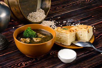 traditional mushroom soup in rustic style