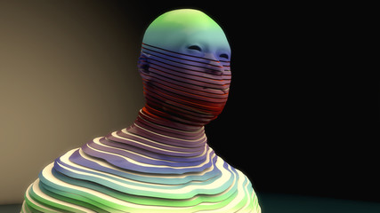 3D render. Human figure cut into slices