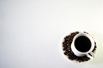 Coffee cup and moka pot, coffee bean