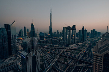 Skyline of Dubai with a huge street in front of the Burj Khalifa