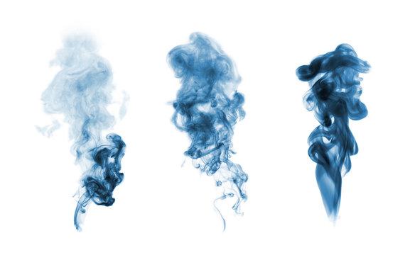 blue smoke blot isolated on white