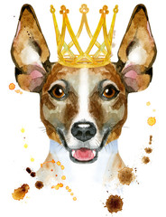 Watercolor portrait of jack russell terrier with golden crown