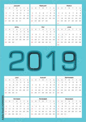 Photosi Calendario.Calendario Anual 2019 Diseno Simple Color Azul Claro