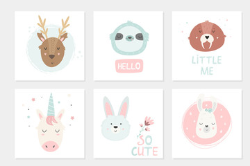 Big set of cards with hand drawn animals