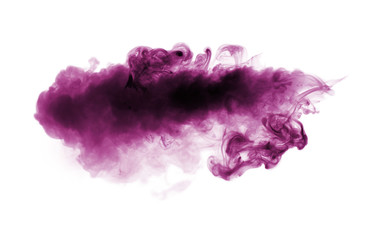 Violet smoke isolated on white