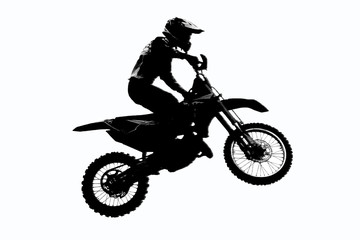 Motorcycle racer silhouette on isolated white background