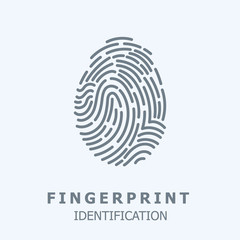 Editable Vector line Fingerprint Scan Icon - fingerprint identification symbol for security system. human individual biometrics verification