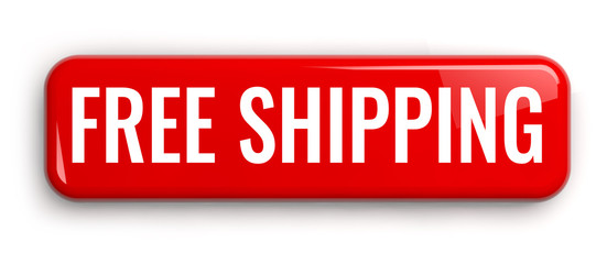 Free Shipping Red Button Isolated on White