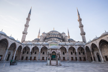 Inner courtyard of the Blue Mosque in Istanbul, Turkey