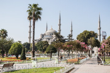 View of the Blue Mosque from the Hippodrome in Istanbul, Turkey