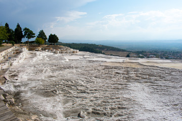 Thermal Terrace and travertine pools in Pamukkale, Cotton Castle, UNESCO World Heritage in Turkey
