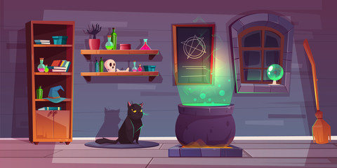 Vector game background of witch house with the black cat, stuff for magic. Shelves with potions, big cauldron and broom for flying. The backdrop for the quest about sorceresses, horror and charms.