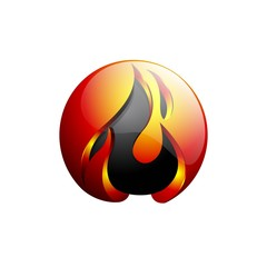 Concept abstract design flame fire ball logo template in orange and gray - Vector