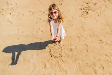 Child on the beach. Sun. Selective focus.