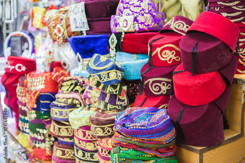 Colorful hats (fez) at the Grand Bazar in Istanbul, Turkey