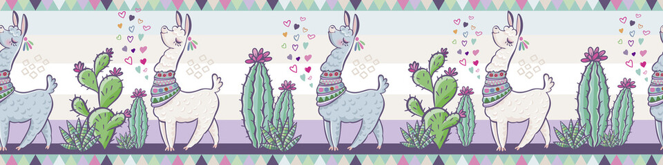 Creative animal print. Seamless vector pattern with llamas, cactus and hearts. Trendy textile design for shirts, dresses, bags and rugs. Hawaiian collection. On a white background