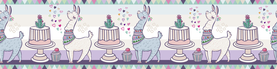 Creative animal print. Seamless vector pattern with llamas, cake and hearts. Trendy textile design for shirts, dresses, bags and rugs. Hawaiian collection. On a white background