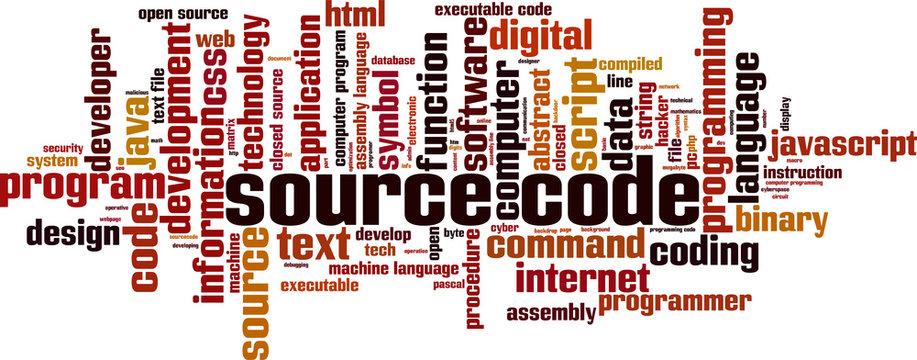 Source code word cloud