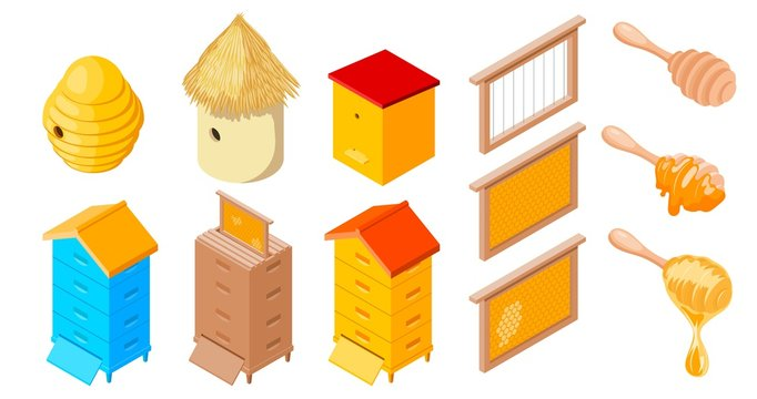 Vector Beehives Apiary set of objects of the beekeeper on a white background isolated object stock illustration: frame, beehive, honey, stick, wax