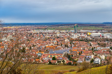 Germany, Houses of city of fellbach from above