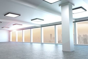 modern architecture empty office in large city 3d rendering