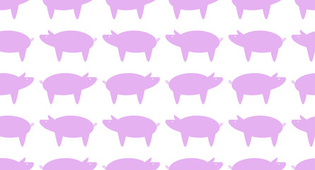 Seamless Graphic Pig Pattern on white background. Graphic pig is pink color.