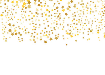 Gold Star Vector. Shine confetti pattern. Falling shiny stars. Golden Starry print. Simple design. Eps10.