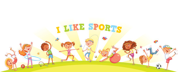 Children are engaged in different kinds of sports on nature background