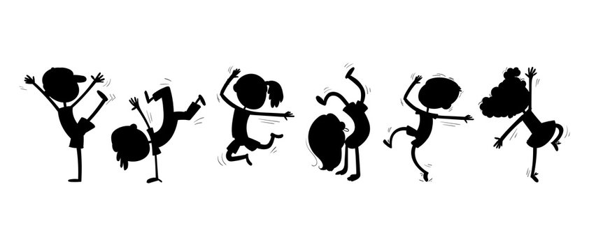 Silhouettes of dancing children