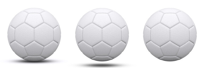 white soccer ball in three versions, with and without shadow. Isolated on white. 3d render.