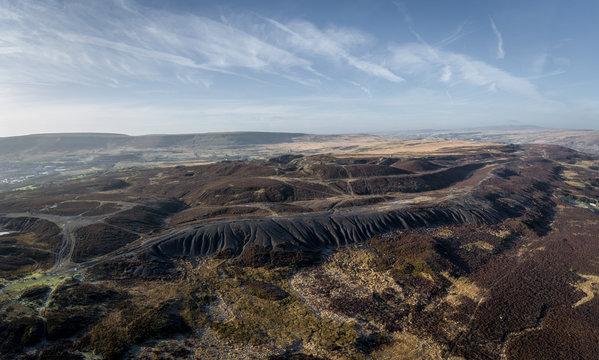 Aerial view of coal slag waste in Brecaon Beacons, Bleanavon, Wales UK
