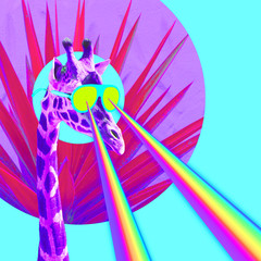 Vacation Giraffe with rainbow lasers from eyes. Minimal collage funny art