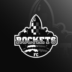 rocket vector logo design mascot with modern illustration concept style for badge, emblem and tshirt printing.