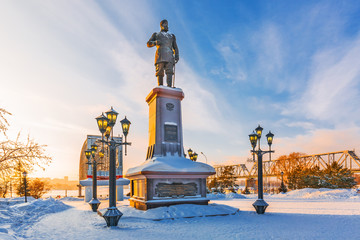Monument to the Russian Emperor Alexander the Third. Novosibirsk, Russia