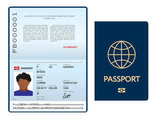Opened international passport template with blue cover, personal data page with man photo, official document, vector illustration