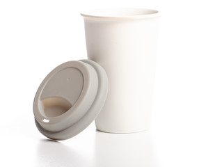 White cup mug with gray lid on white background isolation