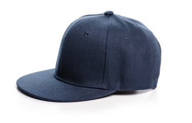 Blue cap textile on a white background. Isolation