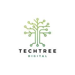 tech tree electrical circuit digital logo vector icon
