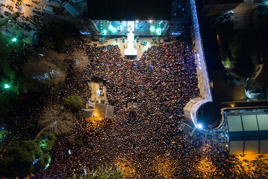 New Year's celebration at the old town of Budva