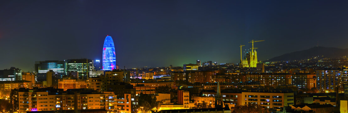 Barcelona aerial panoramic overview