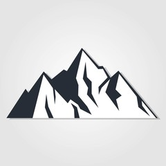 Mountains icon isolated on white background. Vector illustration.