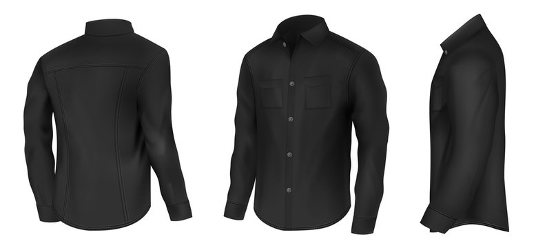 Mens classic black shirt with long sleeves and pockets on chest in half turn front, side and back view 3d realistic vector illustration isolated on white background. Casual clothing element mockup