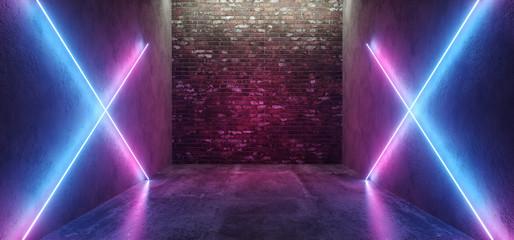 Futuristic Sci Fi Retro Modern Neon Glowing Crossed Shaped Lines Tubes Purple Pink Blue Colored Lights In Dark Empty Grunge Concrete Bricks Room Background 3D Rendering