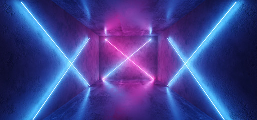 Futuristic Sci Fi Retro Modern Neon Glowing Crossed Shaped Lines Tubes Purple Pink Blue Colored Lights In Dark Empty Grunge Concrete Room Background 3D Rendering
