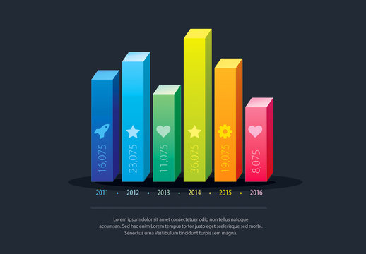 3D Colorful Bar Graph Infographic Layout
