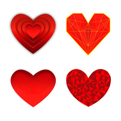 set di cuori belli rossi vettoriale per il giorno di San Valentino
