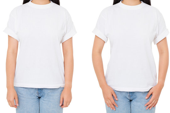 cropped image two asian woman set in t-shirt isolated on white,korean girl in white tshirt,blank,copy space